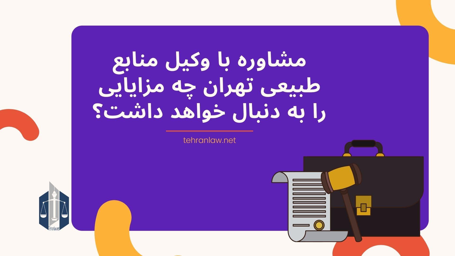 مشاوره با وکیل منابع طبیعی تهران چه مزایایی را به دنبال خواهد داشت؟