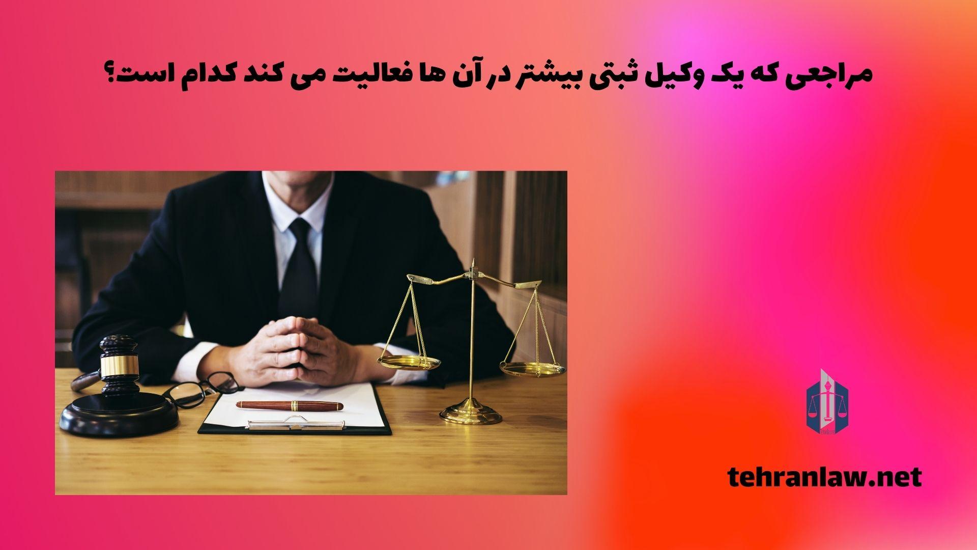 مراجعی که یک وکیل ثبتی بیشتر در آن ها فعالیت می کند، کدام است؟